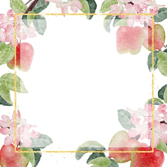 Flor de manzana acuarela y fruta con marco dorado brillo