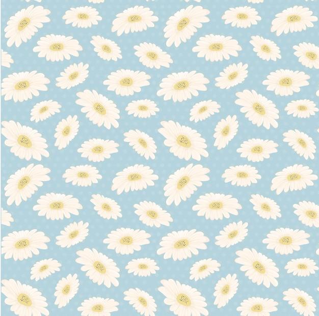 Flor de la margarita blanca dibujada a mano sin fisuras patrón vintage