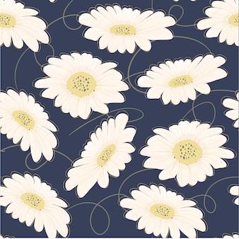 Flor de la margarita blanca dibujado mano inconsútil del patrón