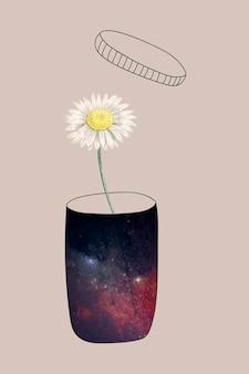 Flor de margarita que crece en una galaxia