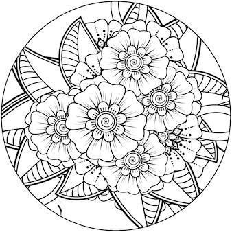 Flor de mehndi para la decoración del tatuaje de henna mehndi página de libro para colorear