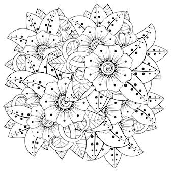 Flor de mehndi en estilo étnico oriental