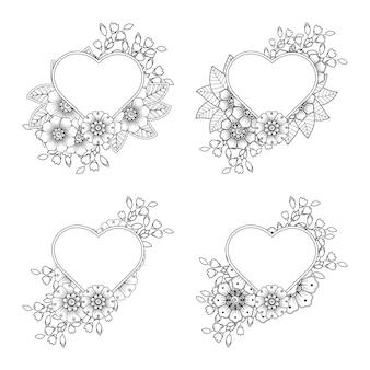 Flor de mehndi con marco en forma de corazón en adorno de doodle de estilo étnico oriental. dibujar a mano ilustración para colorear