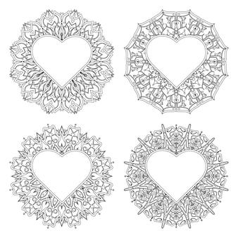Flor de mehndi con marco en forma de corazón. flor de mehndi en estilo étnico oriental doodle ilustración de sorteo de mano