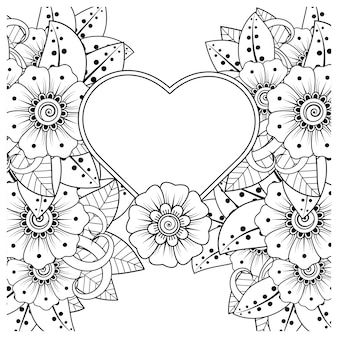 Flor de mehndi con marco en forma de corazón