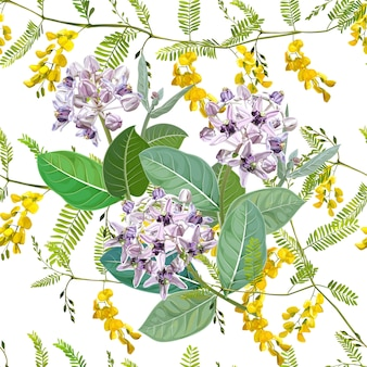 Flor morada, flor calotropis gigantea o corona y flor amarilla sesbania, patrón sin costuras