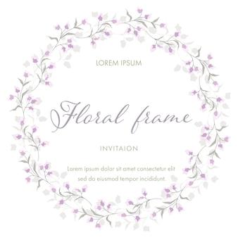 Flor morada para la guirnalda floral del marco. plantilla de tarjeta de invitación de boda