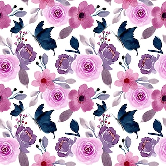 Flor morada y mariposa con acuarela de patrones sin fisuras