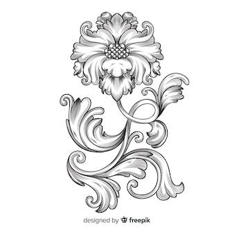Flor ornamental dibujada a mano