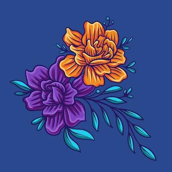 Flor de otoño en azul