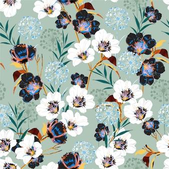 Flor patrón floral en la floración de muchos motivos botánicos amables