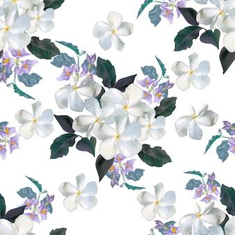 Flor de patrones sin fisuras con flor