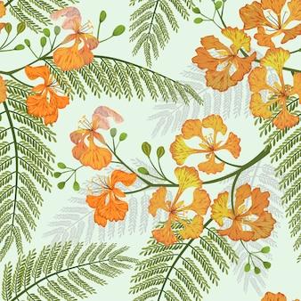 Flor de pavo real de patrones sin fisuras.