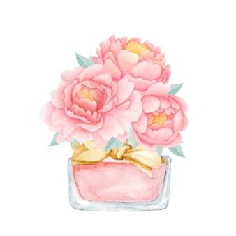 Flor de peonía perfume acuarela arte impresión perfecta para decoración del hogar