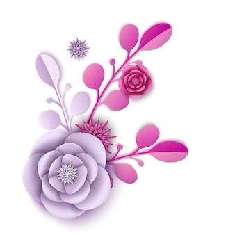 Flor de peonía realista y patrón floral abstracto