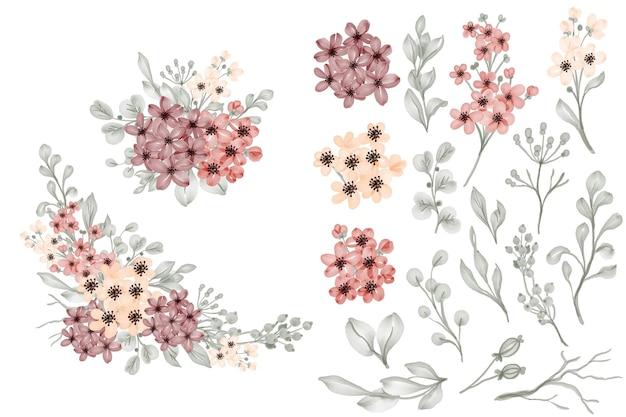 Flor pequeña y hojas aisladas clip art y arreglo floral