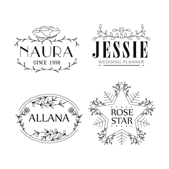 Flor plantillas de logotipo concepto de floristería femenina