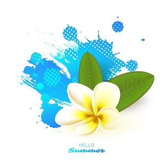 Flor de plumeria realista y hojas con salpicaduras de acuarela azul. ilustración.