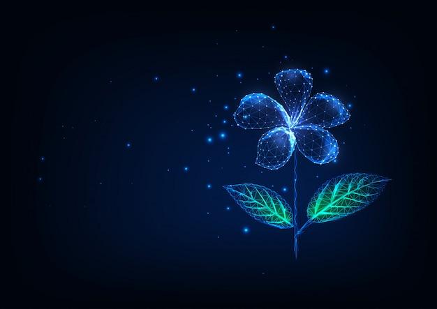 Flor poligonal baja brillante futurista aislada sobre fondo azul oscuro.