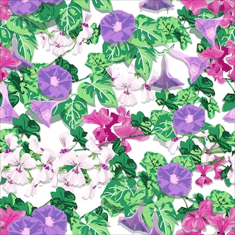 Flor de primavera en la pared con morning glory y geranium.