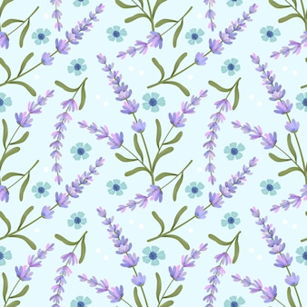 Flor púrpura lavanda de patrones sin fisuras en azul