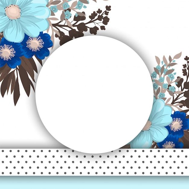 Flor redondo dibujo marco de círculo azul con flores