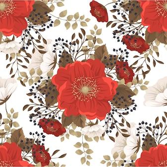 Flor roja fondo de patrones sin fisuras