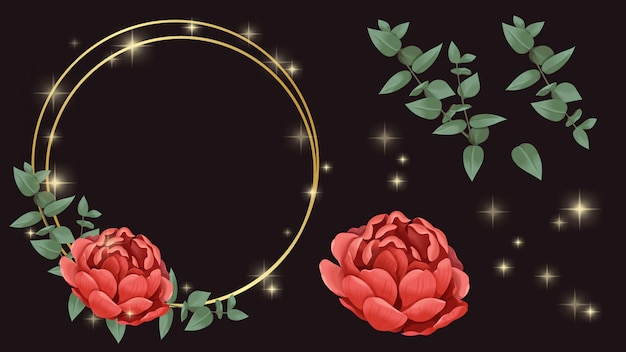 Flor roja, marco dorado e ilustración brillante.