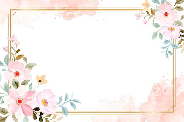 Flor rosa acuarela con marco dorado