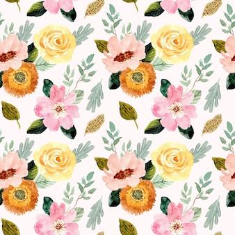 Flor rosa amarilla acuarela de patrones sin fisuras