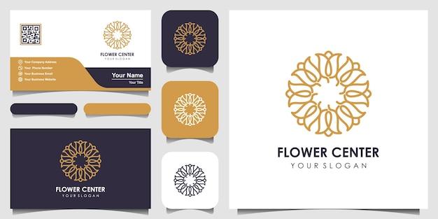 Flor rosa belleza con estilo circular. conjunto de diseño de logotipo y tarjeta de visita