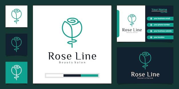 Flor rosa diseño de logotipo de lujo y tarjeta de visita.