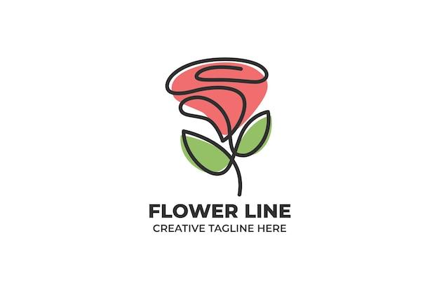 Flor rosa roja en un logotipo de ilustración de dibujo de línea