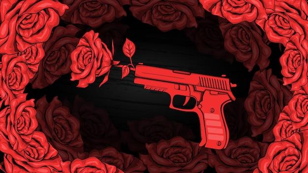 Flor rosa roja y pistola