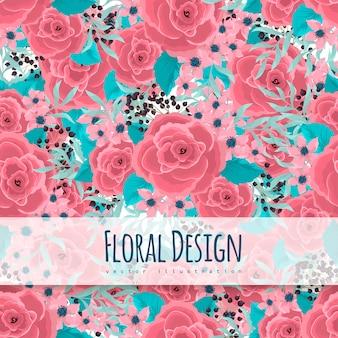 Flor rosa rosas sin costura