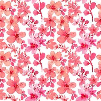 Flor rosa sakura acuarela de patrones sin fisuras