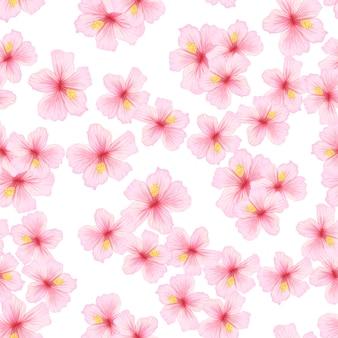 Flor rosa sakura de patrones sin fisuras.
