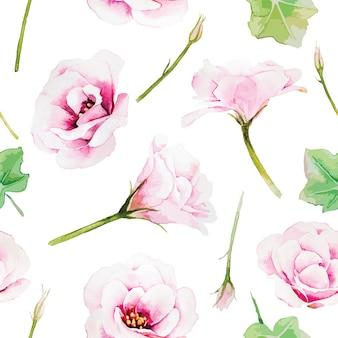 Flor rosada del lisianthus, modelo inconsútil en el fondo blanco. estilo acuarela