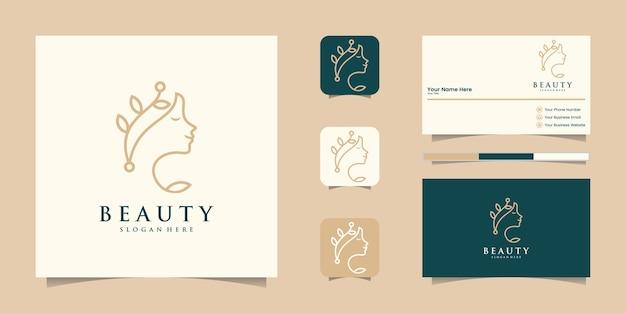 Flor de rostro de mujer hermosa con logotipo de estilo de arte lineal y diseño de tarjeta de visita.