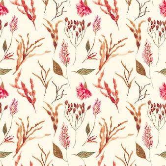 Flor seca acuarela de patrones sin fisuras