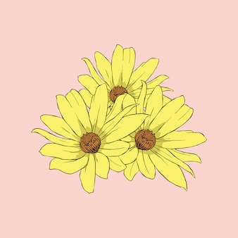 Flor de sol amarillo en arte de línea de fondo rosa