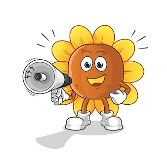 Flor de sol con personaje de dibujos animados de altavoces de mano