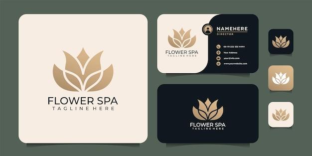 Flor spa hoja lujo flor dorada logo símbolo elementos