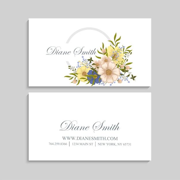 Flor tarjetas de visita flores amarillas