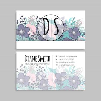 Flor tarjetas de visita flores azules fondo blanco