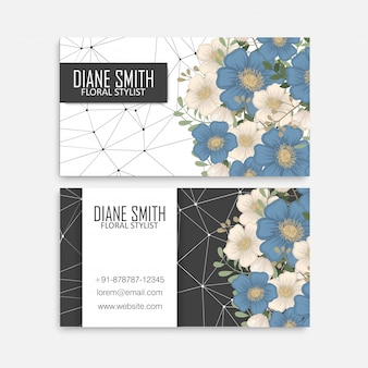 Flor tarjetas de visita flores azules