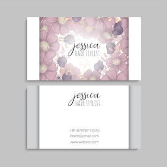 Flor tarjetas de visita flores de color púrpura