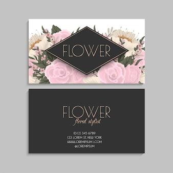 Flor tarjetas de visita flores de color rosa
