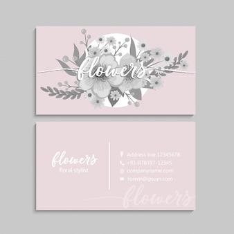 Flor tarjetas de visita flores en colores pastel