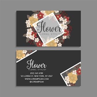 Flor tarjetas de visita flores rojas